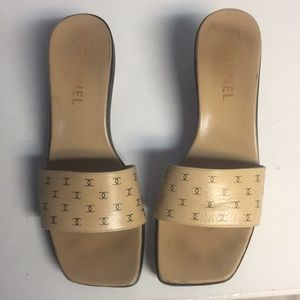 Chanel Tan and Black Unique Heels Sandals Slides